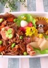 4月9日 リラックマ弁当 味噌豚 詰め方