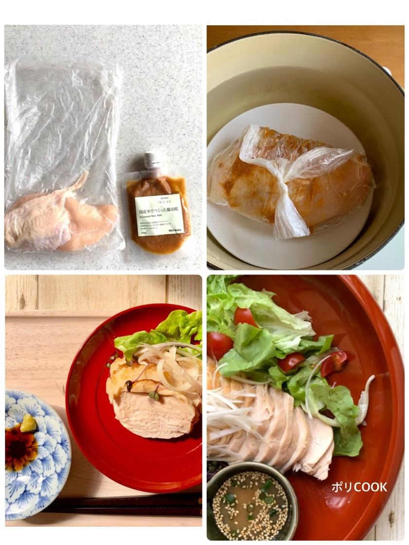 ポリ袋で湯煎『無印醤油麹の鶏ハム』