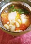 スープジャーでトマトと大豆のスープ