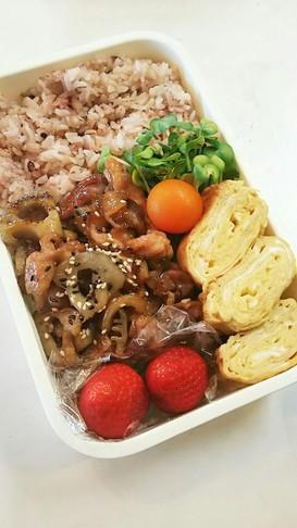 お弁当(4/13)豚肉と蓮根の甘辛炒め