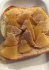 甘すぎないりんごのトーストきな粉がけ