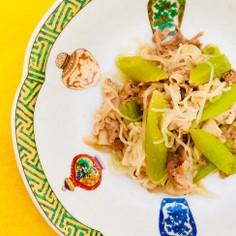 フキと豚バラ しらたきのあっさり生姜炒め