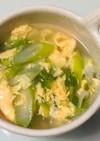 ごま油香るふんわり卵レタスねぎのスープ