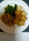 ピリ辛!もやしとニラ揚げ豆腐のゴヒージョ
