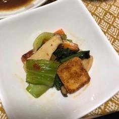青梗菜、厚揚げ、人参、エリンギピリ辛炒め