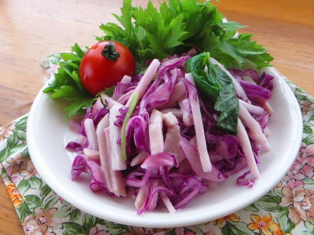 紫キャベツと長芋のレモンわさびマヨサラダ