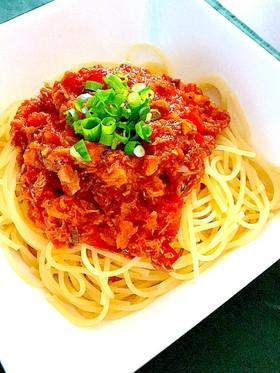鯖の水煮缶のトマトソースパスタ