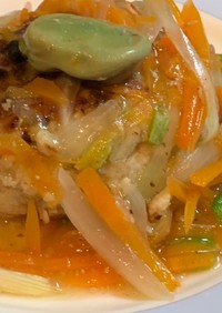 小間切れ肉と高野豆腐のハンバーグ