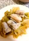 白身魚とキャベツの白ワイン蒸し