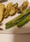 旬な牡蠣の天ぷらイワシ天アスパラ天ぷら