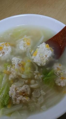 【鳥むね肉で】肉団子のおかずスープ