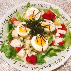 明太マヨソースがけ☆ゆで卵の具沢山サラダ