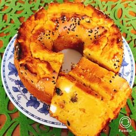 かぼちゃと黒豆クリームチーズのケーキ♡♡