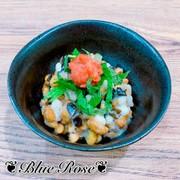 もち麦ときくらげたっぷり梅しそ納豆の写真
