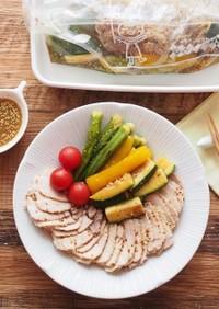 ゆで豚と焼き野菜のお浸し