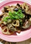 牛バラ肉と蓮根となすの生姜炒め