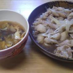 鶏皮ポン酢&中華スープ