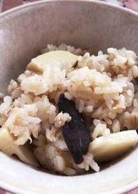 筍とキクラゲのもちむぎ炊き込みご飯