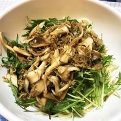 青じそ香る水菜と舞茸のサラダパスタ