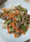 牛肉と豆腐の生姜醤油炒め