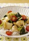 ささ身と豆腐のカレー照り焼き丼