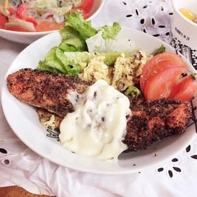 おからで揚げる。糖質制限鮭白身魚フライ