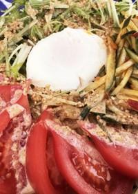 ベジ料理☆半熟卵の胡麻ドレラーメンサラダ