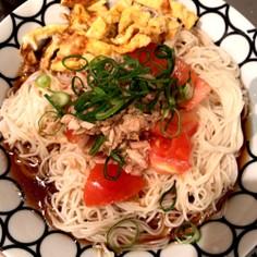 美味!トマトとツナと大葉のサッパリ素麺♡