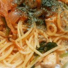メカジキと野菜のトマト味スパゲティ