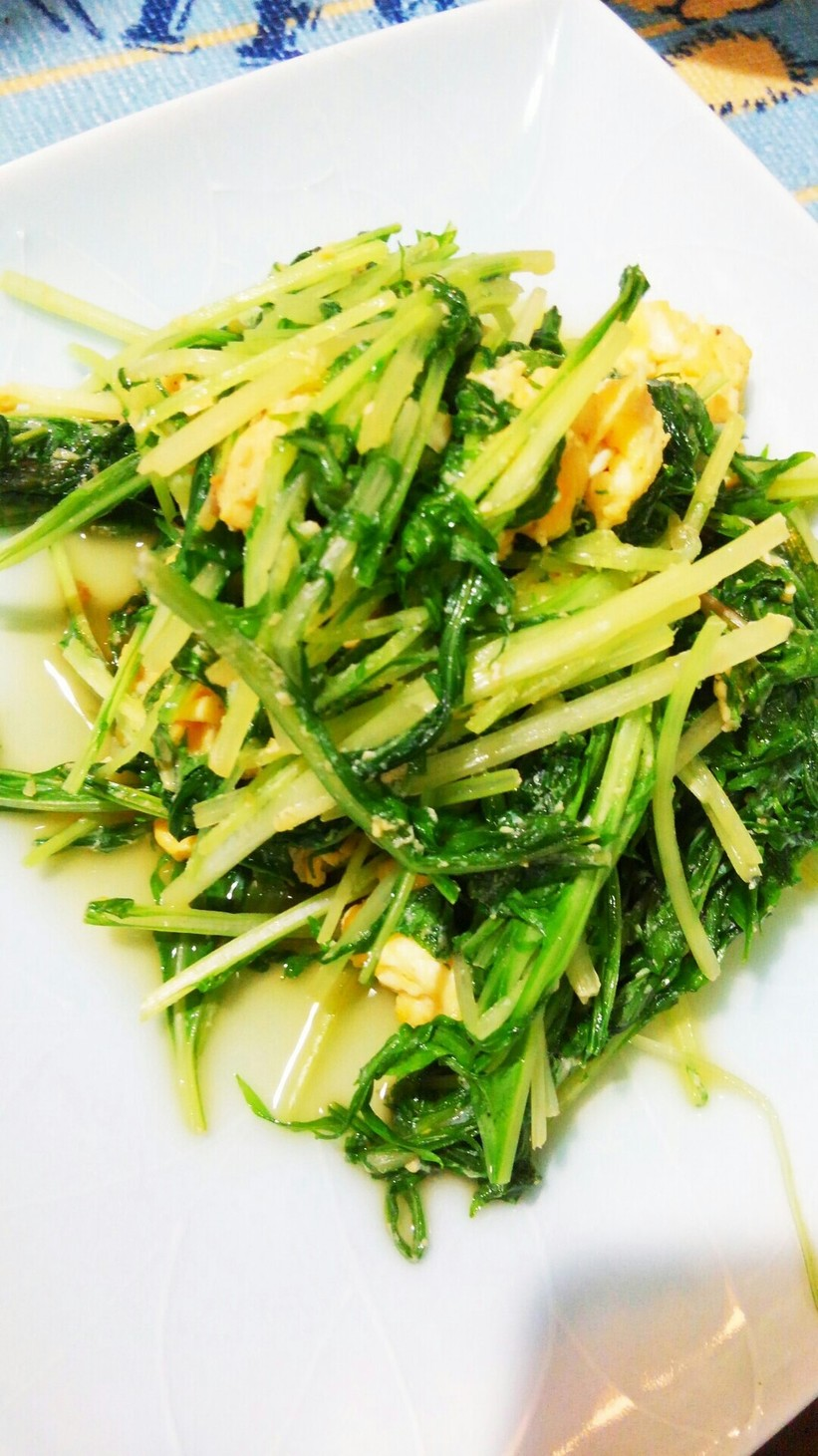 水菜の大量消費に!水菜と卵の中華風炒め