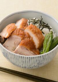 鶏の照り焼きと長芋丼