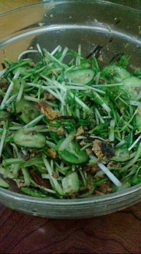 簡単✿水菜&きゅうり&イワシサラダ♫♬