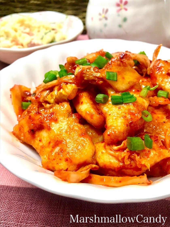 簡単♡柔らか鶏胸肉とキムチの炒めもの♡