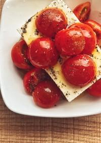 材料2つズボラおしゃれ✨冷奴にプチトマト