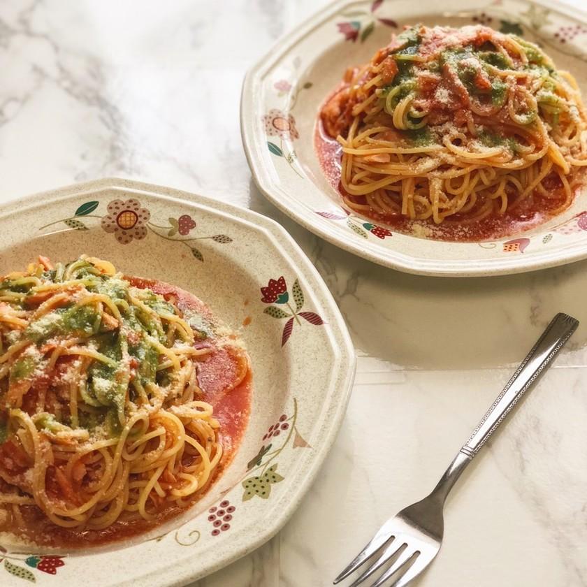 トマト、バジルの冷製パスタ