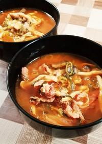 簡単レシピ☆もち麦入り豚キムチスープ
