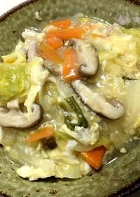 塩鍋の残りで 野菜あんかけ卵とじうどん
