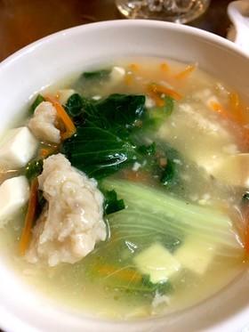 レタスと鶏牛蒡すり身のとろみ中華風スープ