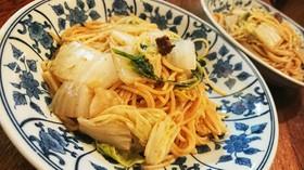 白菜と海苔の佃煮の和風パスタ