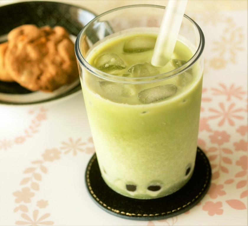 タピオカ抹茶ミルクティー(黒糖使用)