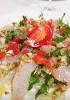 新玉ねぎと白身魚の柚子胡椒カルパッチョ