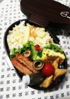 高校男子弁当♡筍ご飯とハムカツ