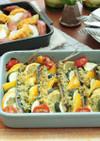 グリラーでイワシと夏野菜のパン粉焼き