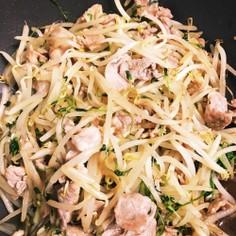 豚肉・もやし・豆苗の醤油炒め シンプル