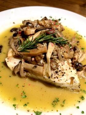白身魚のきのこバターソテー