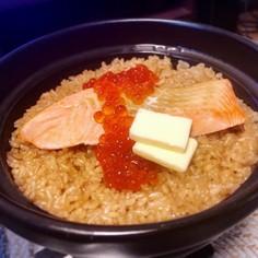 ★バター醤油★鮭といくらの土鍋ご飯