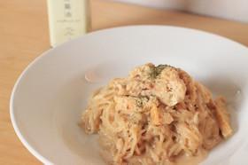 玄米麺の和風ミルクパスタ