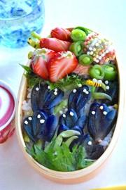 母の日にラベンダー花束弁当の写真