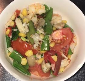 海老と豆とコーンとトマトの炒め煮