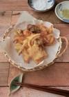 鶏胸肉と空豆のかき揚げ